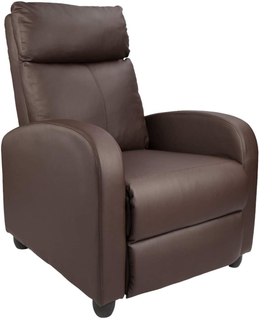 Homall Recliner Chair Padded Seat Pu Leather Recliner (Auburn Brown)